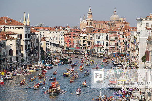 The boats of the historical procession for the historical Regatta on the Grand Canal of Venice  UNESCO World Heritage Site  Veneto  Italy