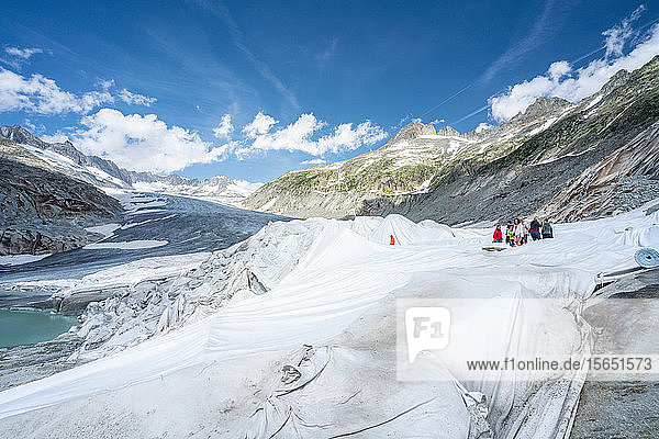 Rhone Glacier covered with white blankets to prevent extreme melting due to climate change  Gletsch  Canton of Valais  Switzerland