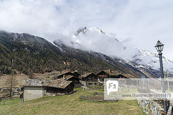 The village of Tignet in the Gran Paradiso National Park  Aosta Valley  Italy
