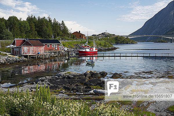 A fishing boat and dock houses near Kakern Bridge  Ramberg  Lofoten Islands  Norway