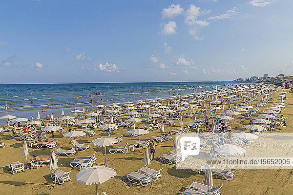 Finikoudes Beach in Larnaca  Cyprus  Mediterranean