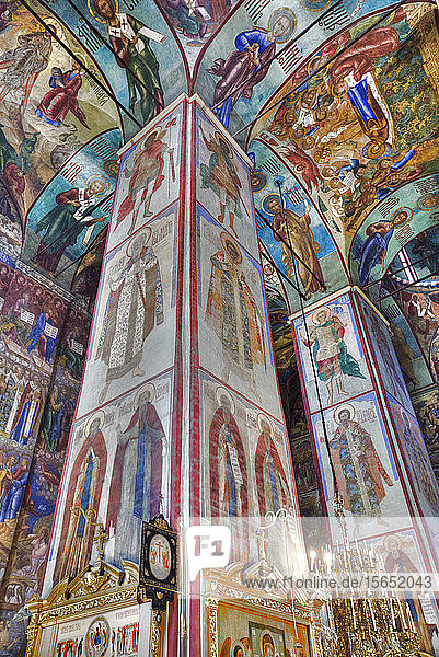Frescoes  Holy Dormition Cathedral  The Holy Trinity St. Sergius Lavra  Sergiev Posad  Golden Ring  Moscow Oblast  Russia