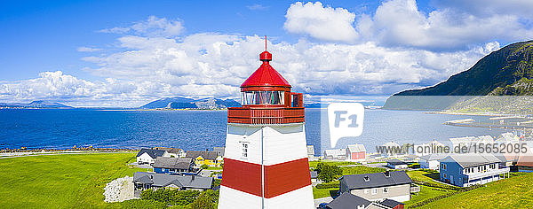 Aerial panoramic by drone of high section of Alnes Lighthouse  Godoya Island  Alesund  More og Romsdal County  Norway  Scandinavia