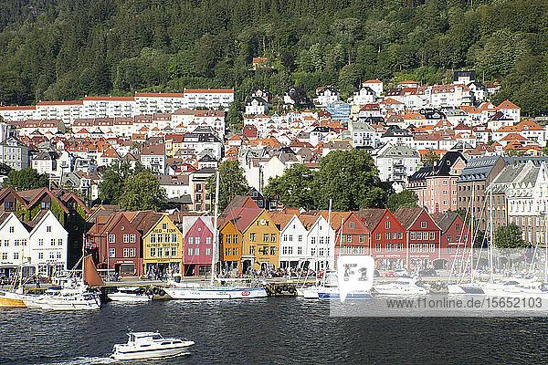 Colourful old timber buildings around the harbour in Bryggen  UNESCO World Heritage Site  Bergen  Vestlandet  Norway  Scandinavia