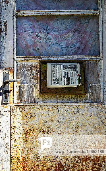 Slovakia  Nove Mesto nad Vahom District Horna Streda  Old weathered house entrance door