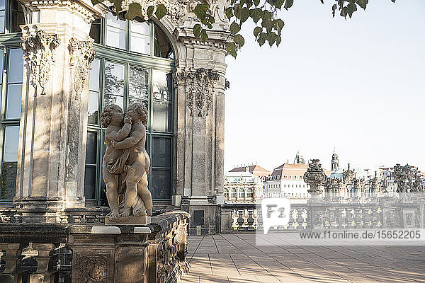 View of statues against Zwinger in Saxony  Germany