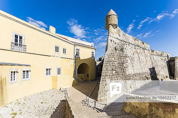 Fort of Sao Jorge in Cascais against sky during sunny day in Lisbon  Portugal