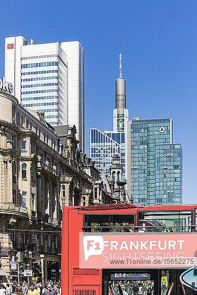 Frankfurt sightseeing bus against buildings in Frankfurt  Germany