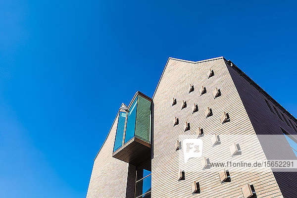 Low angle view of Historical Museum against clear blue sky in Frankfurt  Germany