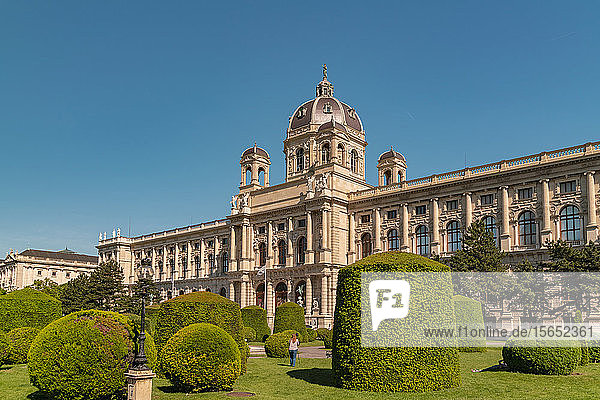 Exterior of Kunsthistorisches Museum against clear blue sky in Vienna  Austria
