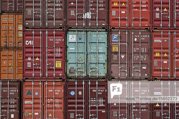 Full frame shot of cargo containers at commercial dock in Frankfurt Osthafen  Germany