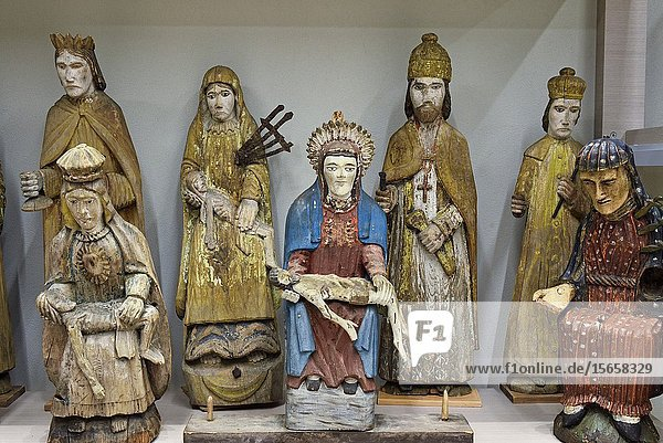 Collection of religious statuettes  Lithuanian Art Centre TARTLE located in Uzupis district  Vilnius  Lithuania  Europe.