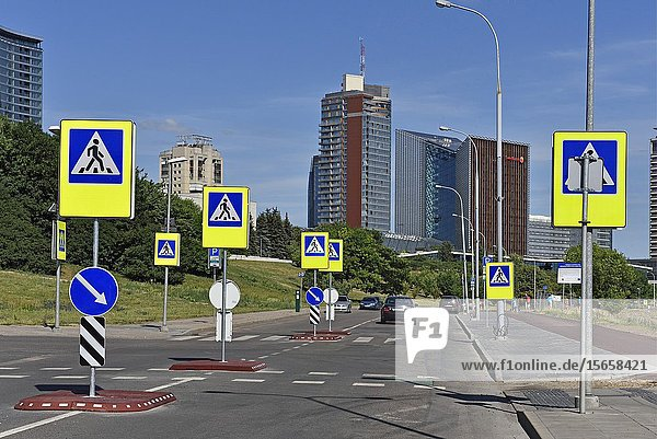 Pedestrian crossing  Snipiskes district  Vilnius  Lithuania  Europe.