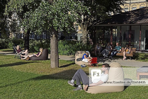 Initiative both private and municipal  during the summer  books are made available free of charge to city park users in Lukiskes Square  the largest one in the center of the city  Vilnius  Lithuania  Europe.