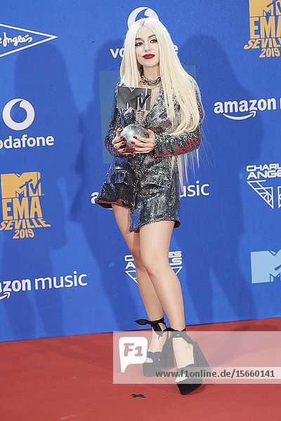 Ava Max attends 2019 MTV Europe Music Awards (EMAs) - Winners Room at FIBES Conference and Exhibition Centre on November 3  2019 in Sevilla  Spain
