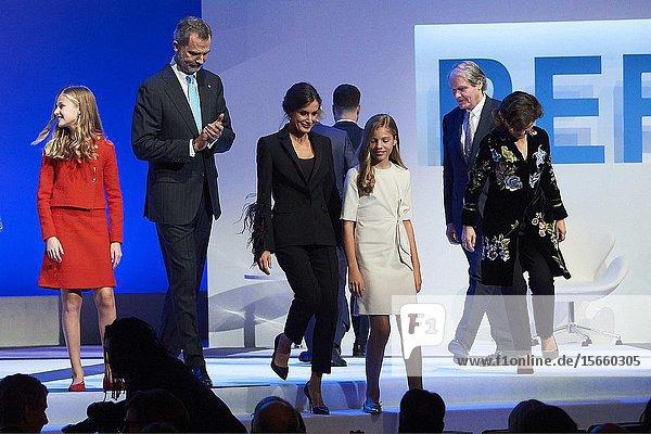 King Felipe VI of Spain  Queen Letizia of Spain  Crown Princess Leonor  Princess Sofia attends the 'Princesa de Girona' Foundation Awards at Palau de Congressos de Catalunya on November 4  2019 in Barcelona  Spain
