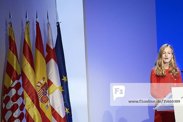 Crown Princess Leonor attends the 'Princesa de Girona' Foundation Awards at Palau de Congressos de Catalunya on November 4  2019 in Barcelona  Spain