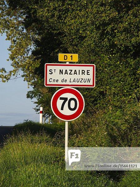 Road signs  St Nazaire  Lot-et-Garonne Department  Nouvelle Aquitaine  France.