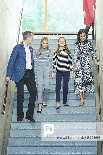 King Felipe VI of Spain  Queen Letizia of Spain  Crown Princess Leonor  Princess Sofia attends 'Princesa de Girona Awards' Workshops at Palau de Congressos de Catalunya on November 5  2019 in Barcelon  Spain