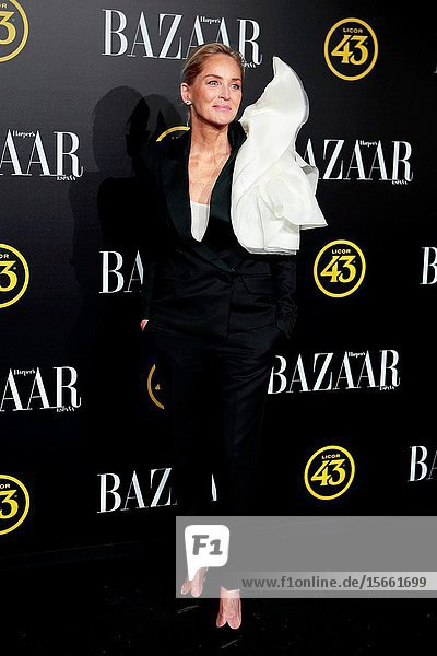 Actress Sharon Stone receives the 'International Icon Attitude' award from Hasper's Bazaar magazine.Palacio de Santoña  Madrid (Spain).November 5  2019.