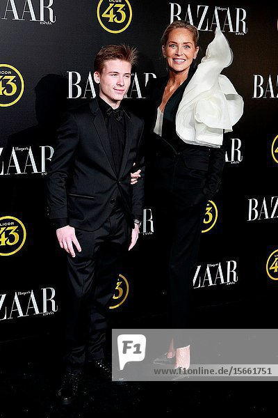 .Actress Sharon Stone and her son Roan Joseph attend the Harper's Bazaar awards in Palacio de Santoña  Madrid (Spain).November 5  2019