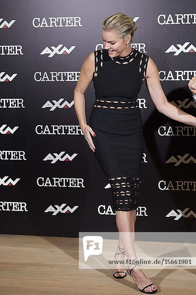 Rebecca Romijn attends 'Carter' AXN TV series photocall at URSO Hotel on November 7  2019 in Madrid  Spain