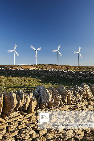 Wind farm in mediterranean landscape of Castellfort  Castellon province  Valencian Community  Spain.