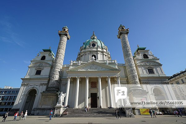 Karlskirche a baroque church located on the south side of Karlsplatz  Vienna  Wien  Austria  Europe.