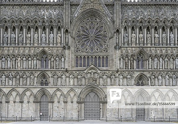 Historical Romanesque Nidaros cathedral decorated rose window and portal  shot under bright morning light at Trondheim  Norway.