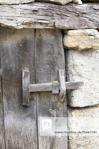 Rural architecture in Asiegu mountain village in Asturias Spain.