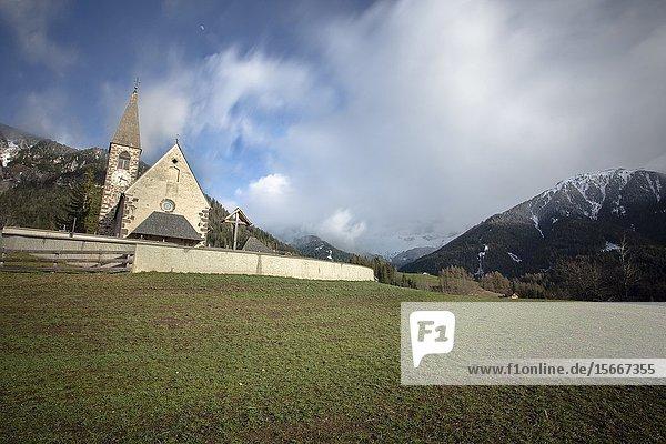 Wonderful landscape Santa Maddalena church  Dolomites  Funes valley South Tirol Italy  Europe.