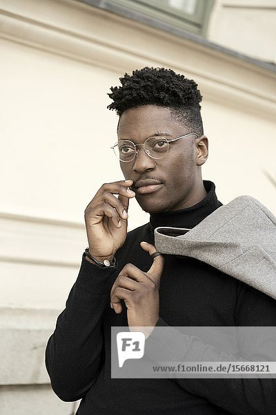 Portrait of young African man  in Munich  Germany.