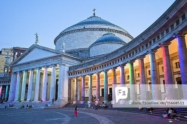 Church of San Francesco di Paola  Basilica di San Francesco di Paola  Piazza del Plebiscito square  Naples city  Campania  Italy  Europe.