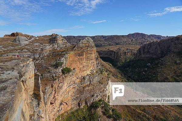 Eroded sandstone rock formations at Isalo National Park  Fianarantsoa province  Ihorombe Region  Southern Madagascar.