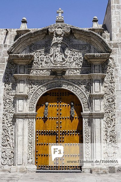 The side facade of the Church of Santo Domingo (1634)  Arequipa city Perú South America.