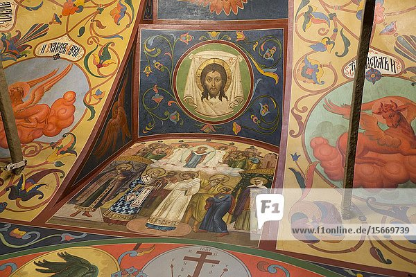 Frescoes  St Basil's Cathedral  Red Square  UNESCO World Heritage Site  Moscow  Russia