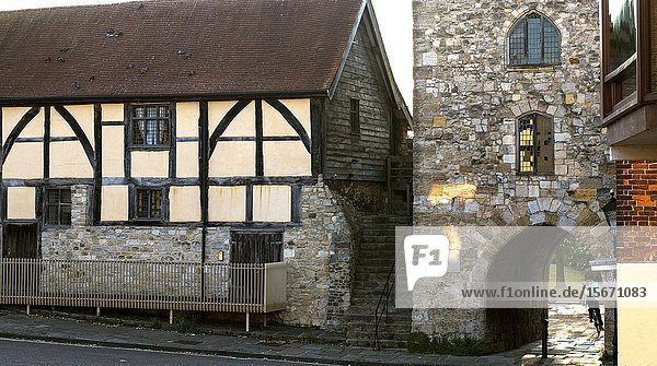 14th century timbered house.Westgate Hall and Westgate tower in the old medieval walls of Southampton  Hampshire  UK.