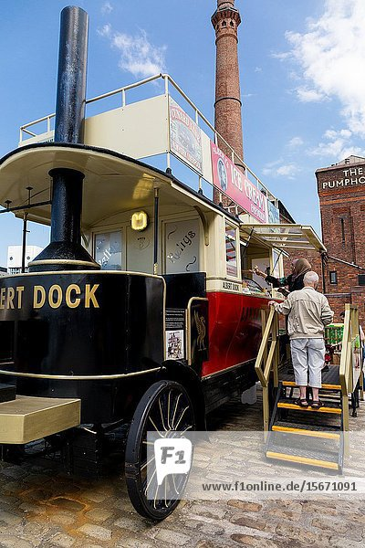 A classic steam bus at the Liverpool Docks  Port of Liverpool.