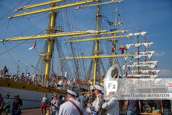 Tall ships at Sail 2019 in harbour of Scheveningen in Holland