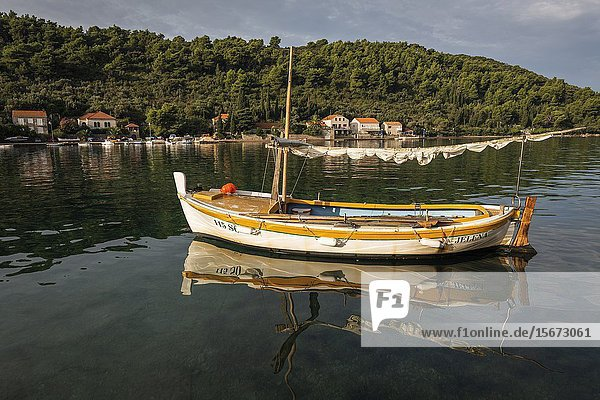 Fishing boat in the bay at Sipanska Luka  Sipan Island  Dalmatian Coast  Croatia.