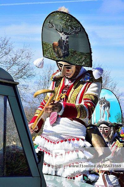 Felos. Winter masks of Maceda  carnival  Orense  Galicia  Spain.