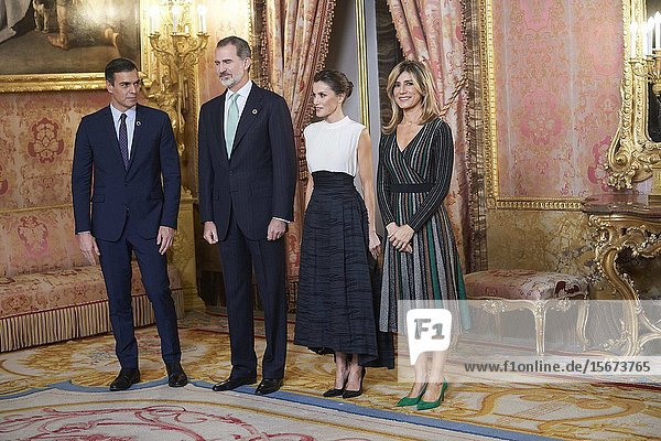 King Felipe VI of Spain  Queen Letizia of Spain  Pedro Sanchez  Prime Minister  Begona Gomez attends United Nations Conference on Climate Change (COP25) reception at Royal Palace on December 2  2019 in Madrid  Spain