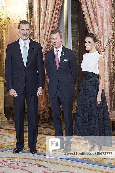 King Felipe VI of Spain  Queen Letizia of Spain  Henri  Grand Duke of Luxembourg attends United Nations Conference on Climate Change (COP25) reception at Royal Palace on December 2  2019 in Madrid  Spain