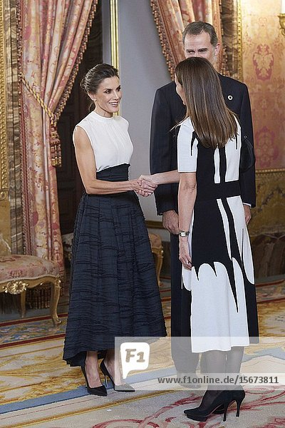 King Felipe VI of Spain  Queen Letizia of Spain  Carolina Schmidt Zaldívar attends United Nations Conference on Climate Change (COP25) reception at Royal Palace on December 2  2019 in Madrid  Spain