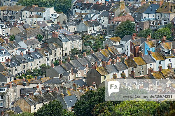 Elevated views from Portland heights on the Isle of Portland of the village of Fortuneswell next to Chesil beach  Dorset  England  UK  Europe