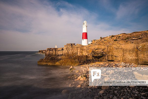 The lighthouse at Portland Bill on the Isle of Portland near Weymouth on Dorset's Jurassic Coast. England. UK.