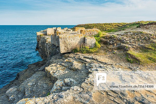 Remains of an ancient disused quarry at Portland Bill on the Isle of Portland  Dorset. England. UK.
