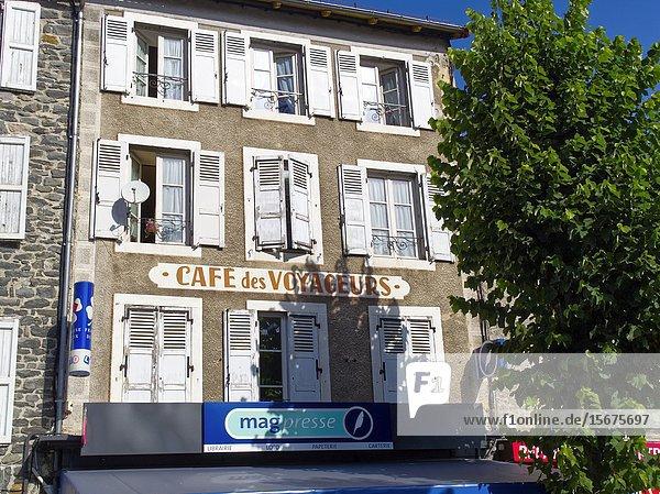 Cafe sign  Place de la Liberte  Saint-Flour  Cantal Department  Auvergne  France.