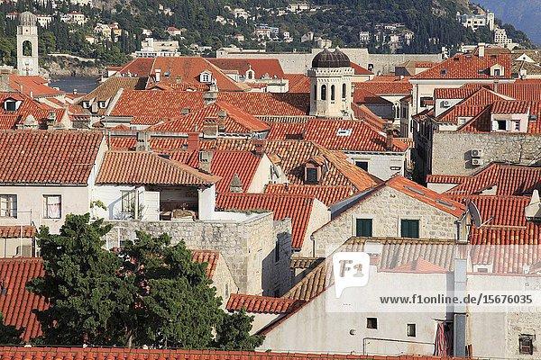 Croatia  Dubrovnik  skyline  elevated view  roofs.