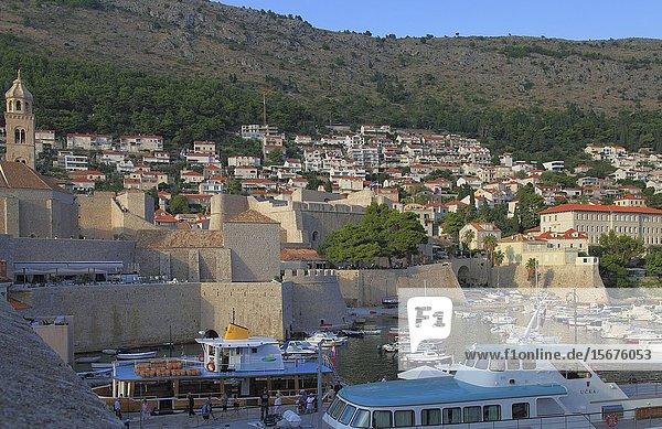Croatia  Dubrovnik  Old Port  ships  boats.